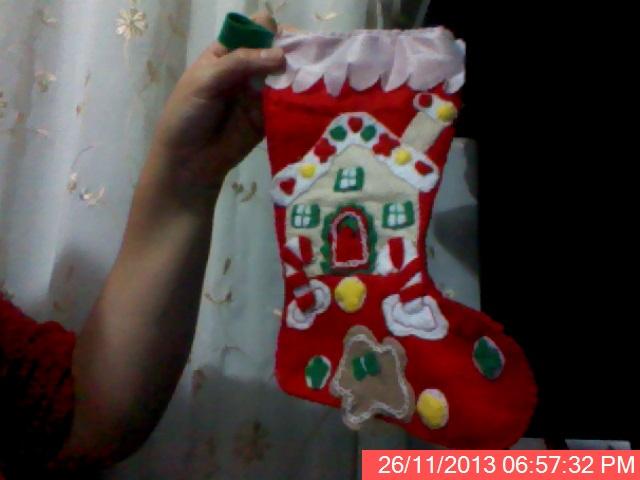 Bota Navideña de fieltro estampada con galletas y caramelos  2nbybf10