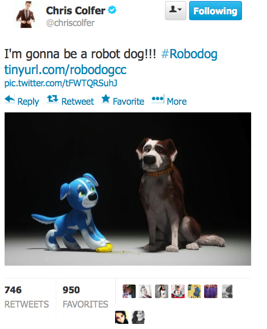 Robodog featuring the voice talent of Chris Colfer. Twitte17