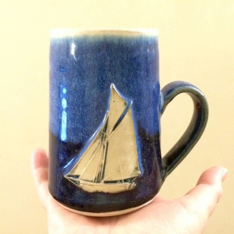 Treave Pottery, Penzance, Cornwall - sailboat motif Img_9111