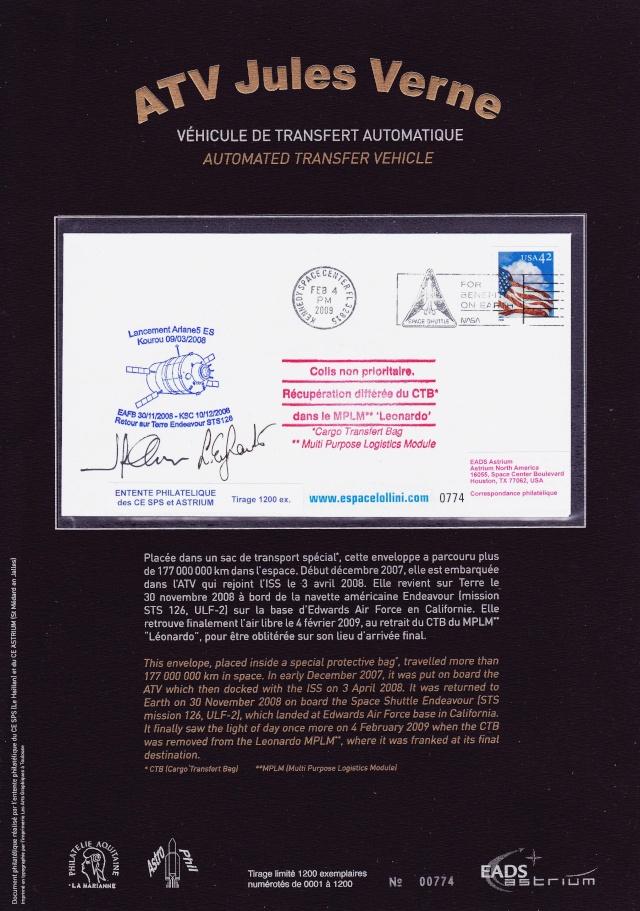 Enveloppe ayant voyagé à bord de l'ATV-1 Jules Verne / ISS / Navette spatiale Endeavour - STS-126 2009_010
