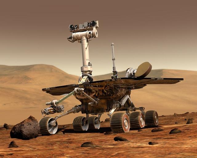 10ème anniversaire de l'arrivée du rover Spirit sur Mars - 3 janvier 2004 750px-10