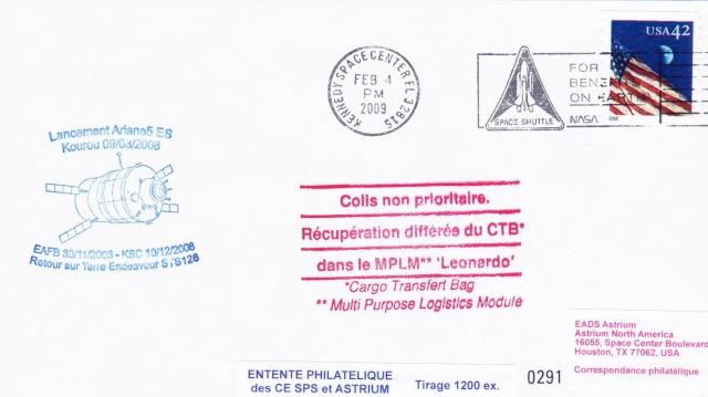 Enveloppe ayant voyagé à bord de l'ATV-1 Jules Verne / ISS / Navette spatiale Endeavour - STS-126 Atv_fl10