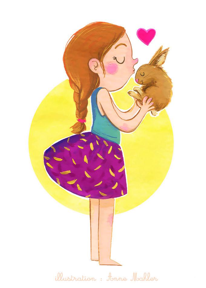 Illustrations sur l'amour entre animaux et humains Bisou-10