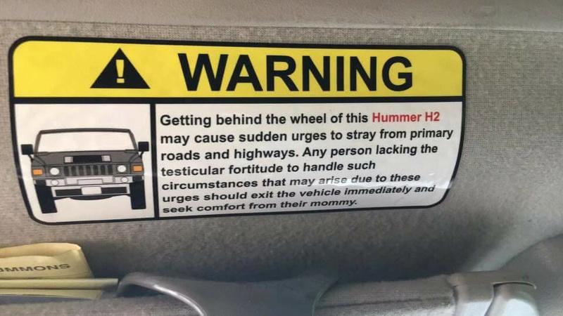 Recommandations pour les utilisateur du Hummer à strictement respecter  16998610