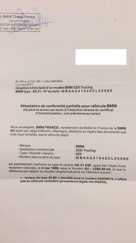 Certificat de conformité bmw - votre avis ? 17204110