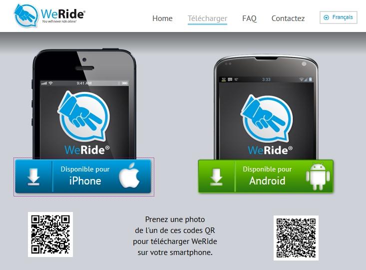 Appli WE RIDE sur smartphones 002123