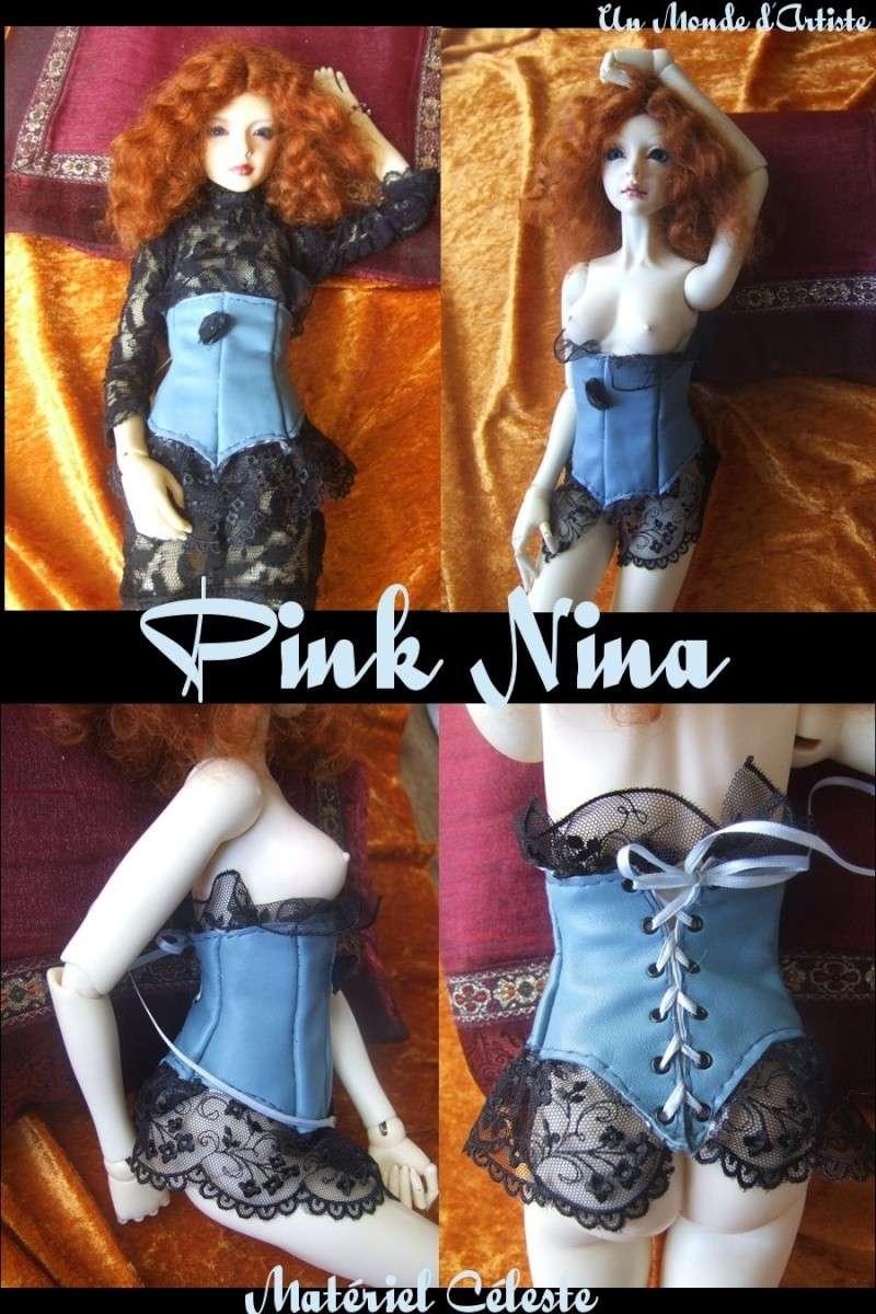 Corsets cuir & dentelle Pink-n11