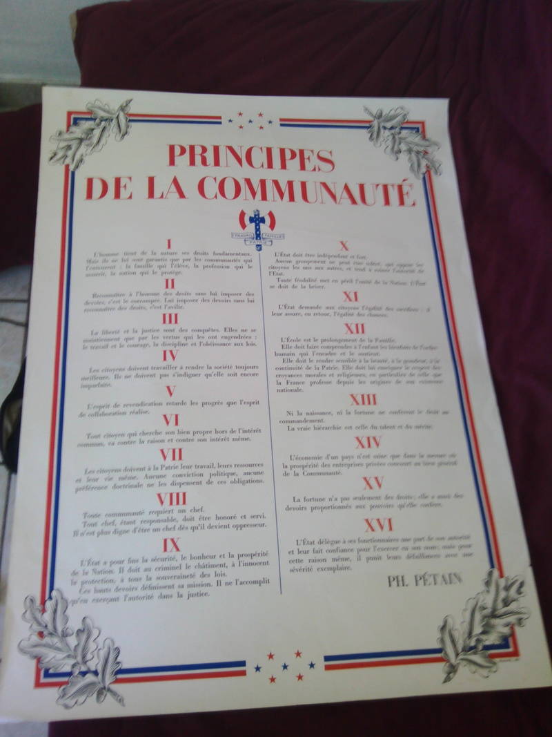 "Estimation affiche Vichy Pétain ""Principes de la communauté"" Img_2135"