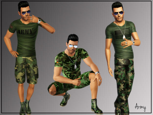 Army T-shirt for Males American and Germany W-600h12