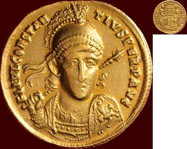 Un exceptionnel solidus lyonnais pour Constance II Combin10