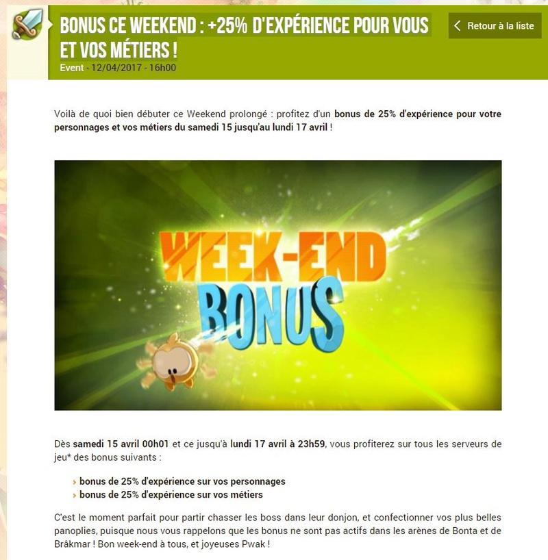 BONUS CE WEEKEND : +25% D'EXPÉRIENCE POUR VOUS ET VOS MÉTIERS ! Bonus11