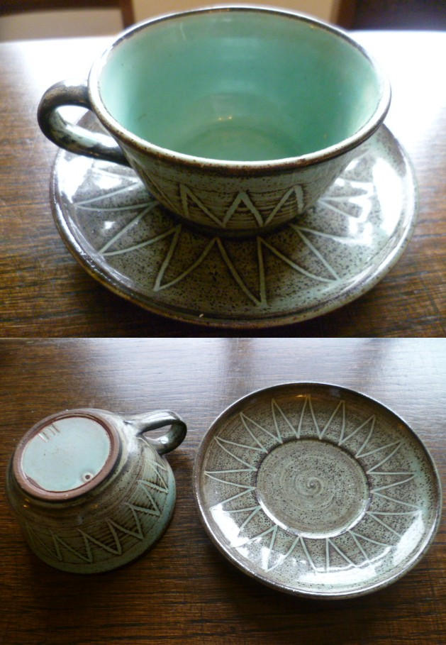 Sunburst Style Cups & Saucers, RH mark - Rowland Hill  Cup10