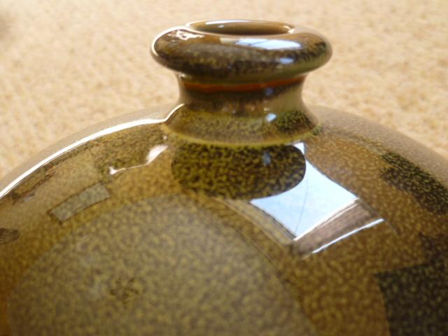 Poole looking glaze stem vase P1230121