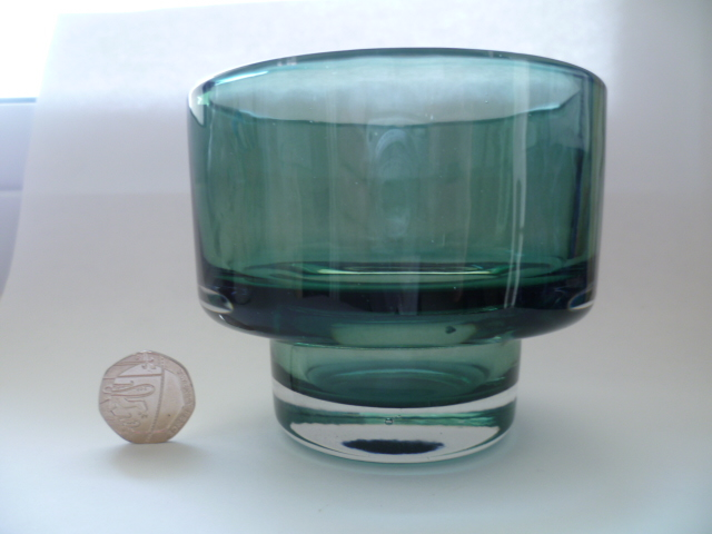 Clear cased base green candle holder Riihimaki Styling but probably M&S P1250110