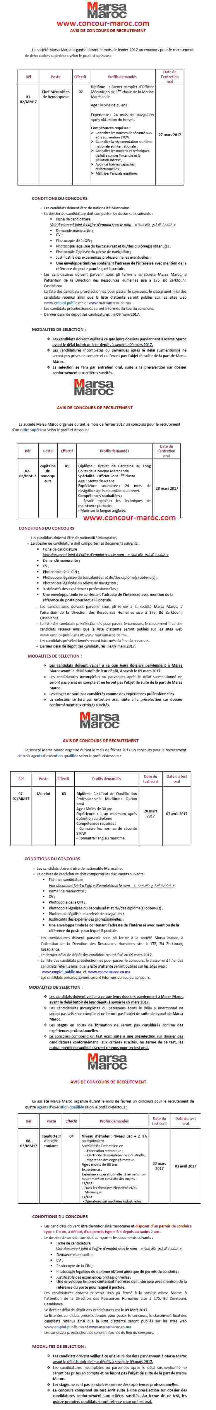 شركة استغلال الموانئ (مرسى ماروك) : مباراة توظيف 17 منصب في عدة تخصصات آخر أجل لإيداع الترشيحات 09 مارس 2017 Concou18