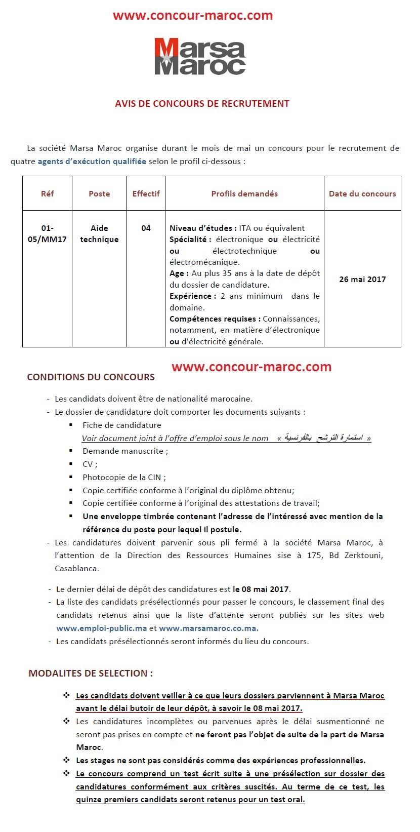شركة استغلال الموانئ (مرسى ماروك) : مباراة لتوظيف مساعد تقني Aide technique (4 مناصب) آخر أجل لإيداع الترشيحات 8 ماي 2017 Concou72
