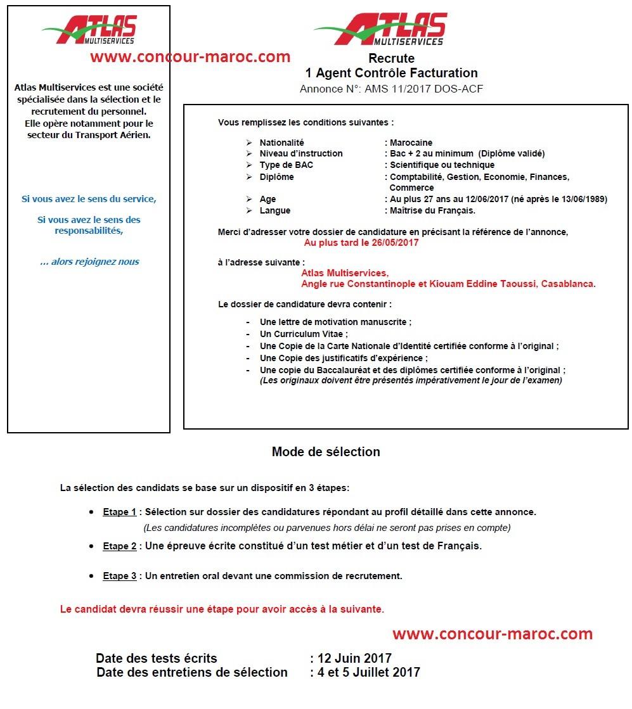 أطلس مولتي سيرفيس : مباراة لتوظيف (بموجب عقد) عون مراقب فاتورات (1 منصب) آخر أجل لإيداع الترشيحات 26 ماي 2017 Concou84