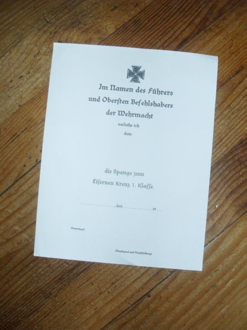 Vitrine Allemande : Diplome Spange EK1 NSDAP 18/05 - Page 2 Sdc12425