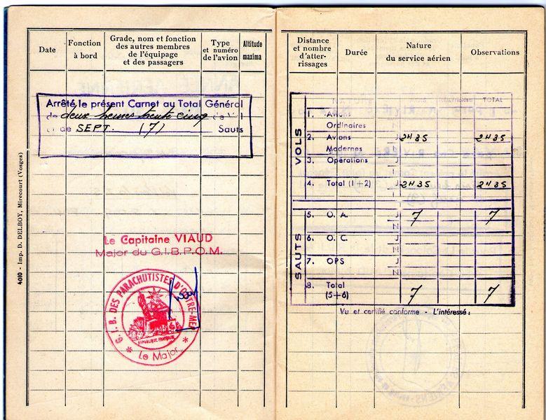 Carnet individuel des services aériens Saut-310