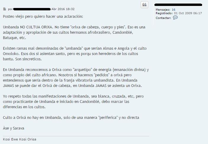 """[Comentarios web] """"Umbanda NO CULTUA ORIXA"""" Xd10"""