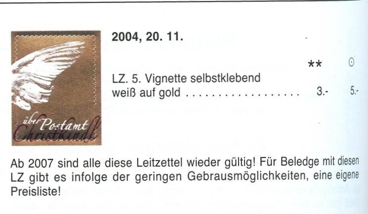 Postamt Christkindl  Leitzettel Img81311