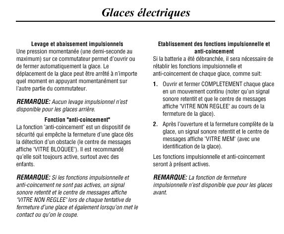Mode séquentiel vitre passager Glaces10