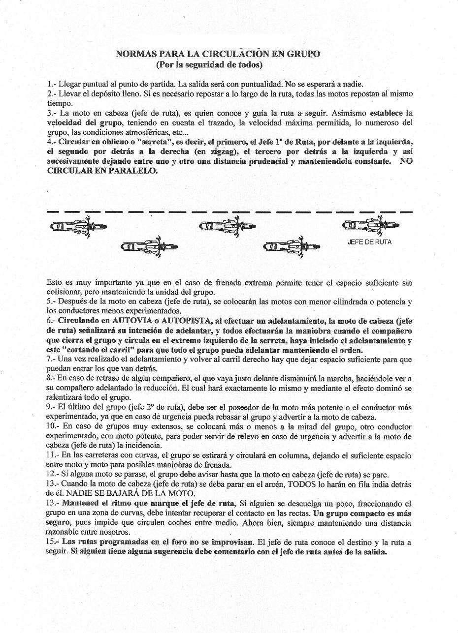 NORMAS CIRCULACION EN GRUPO Normas10