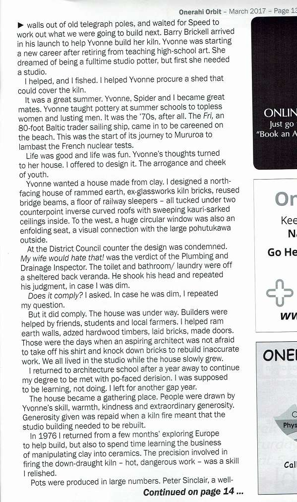 Article about Yvonne Rust's house building Yvonne11