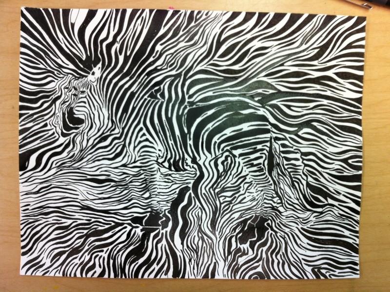 Camouflage du zèbre. (technique d'utilisation de la plume)  Img_1420