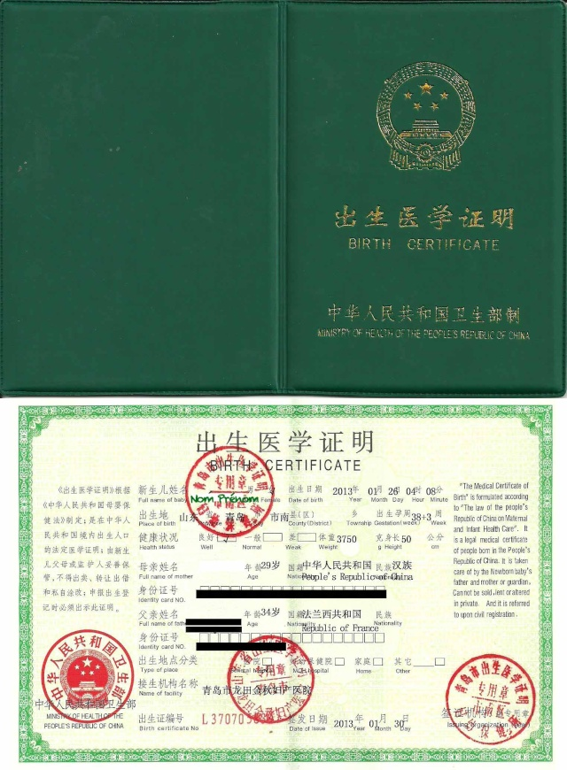 "Exemple du document ""Birth Certificate"" (enfants nés en Chine) Exempl10"