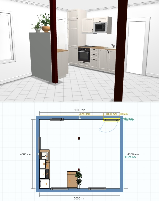 Simulation cuisine Simulation plan cuisine