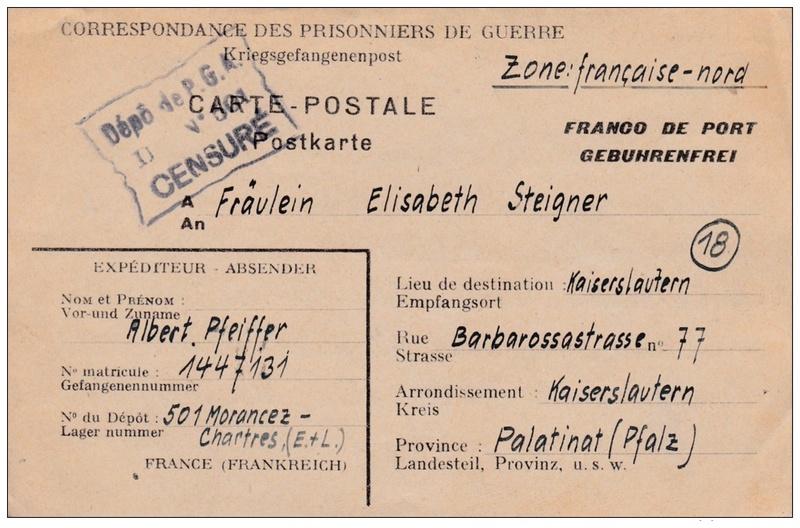 Lettre de correspondance de prisonniers de guerre allemands en France (Morancez dépôt N° 501) 947_0010