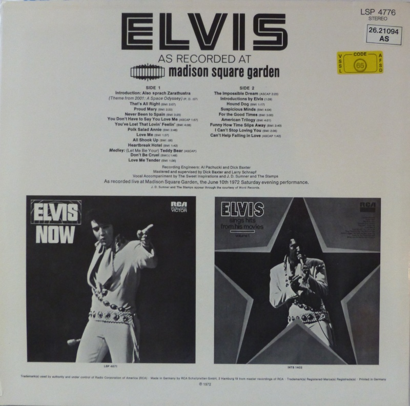 ELVIS AS RECORDED AT MADISON SQUARE GARDEN 1a17