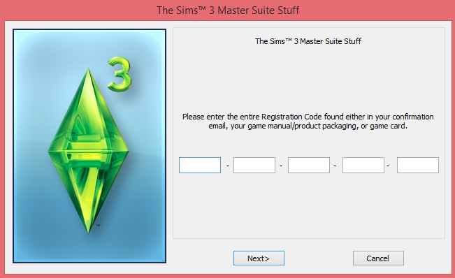 Re-enter or verify registration code - sims 3. Issue10