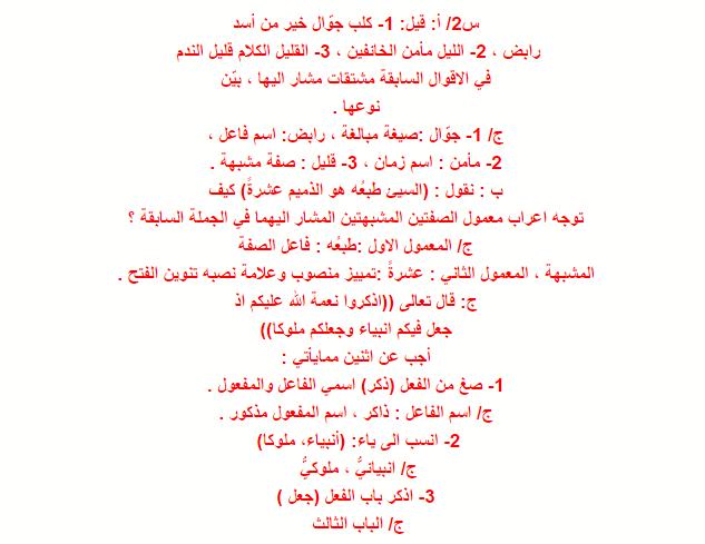مرشحات مادة اللغة العربية للصف الثالث المتوسط 2019 الدور الاول  1111