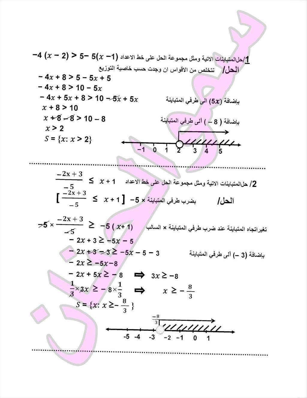 المراجعة المركزة وملخص لمادة الرياضيات للصف الثالث المتوسط 2017 | الجزء 2 1111110