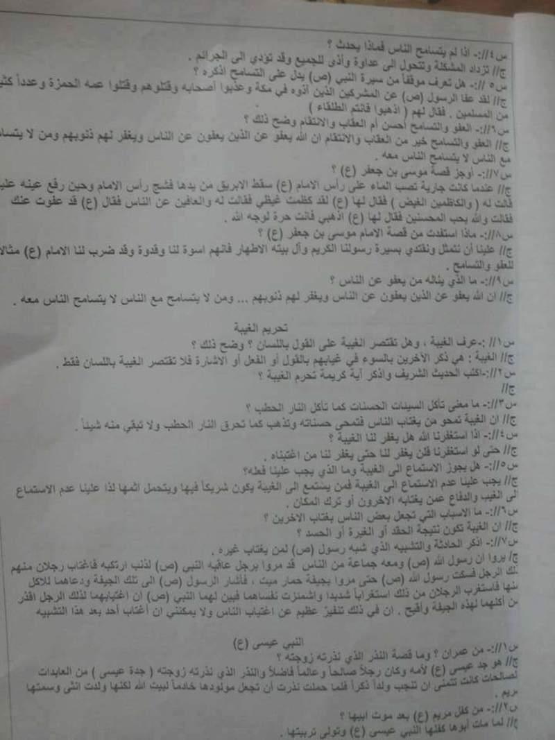 مرشحات مادة الاسلامية للسادس الابتدائي وبطريقة السؤال والجواب 2019 114