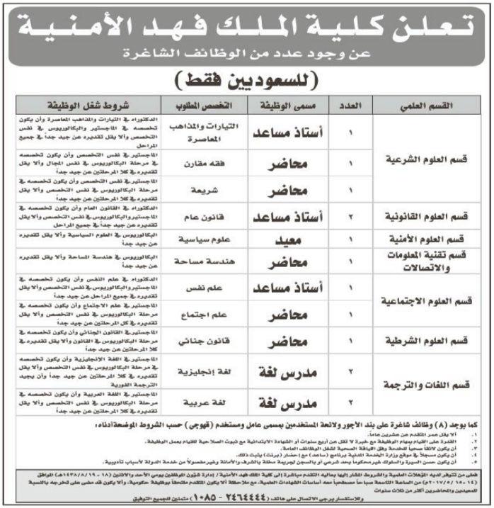 كلية الملك فهد الأمنية وظائف رجالية متنوعة