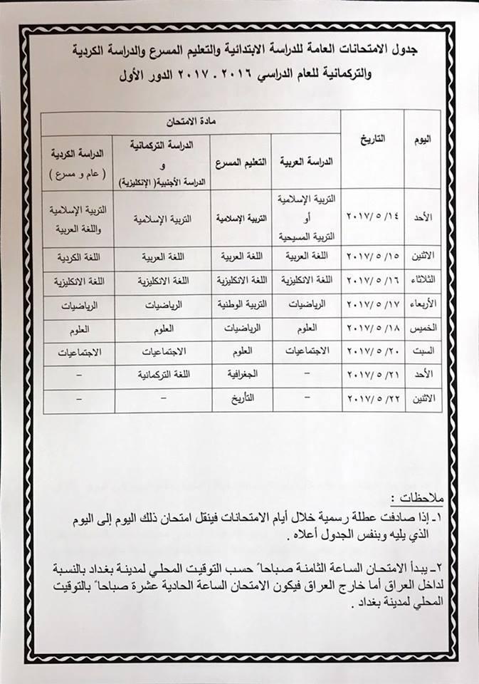 جدول مواعيد الامتحانات العامة للدراسة الابتدائية 2017 17098510