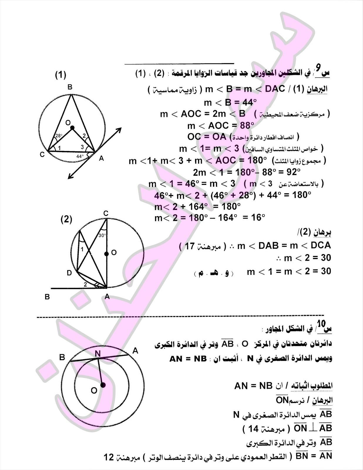 المراجعة المركزة وملخص لمادة الرياضيات للصف الثالث المتوسط 2017 | الجزء 3 2110