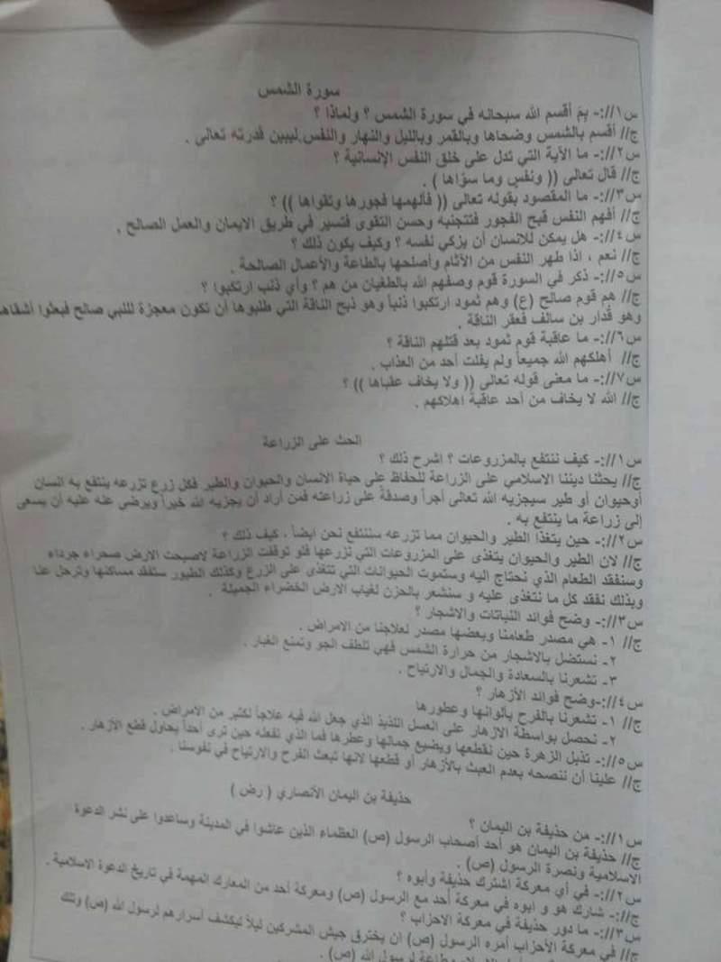 مرشحات مادة الاسلامية للسادس الابتدائي وبطريقة السؤال والجواب 2019 213