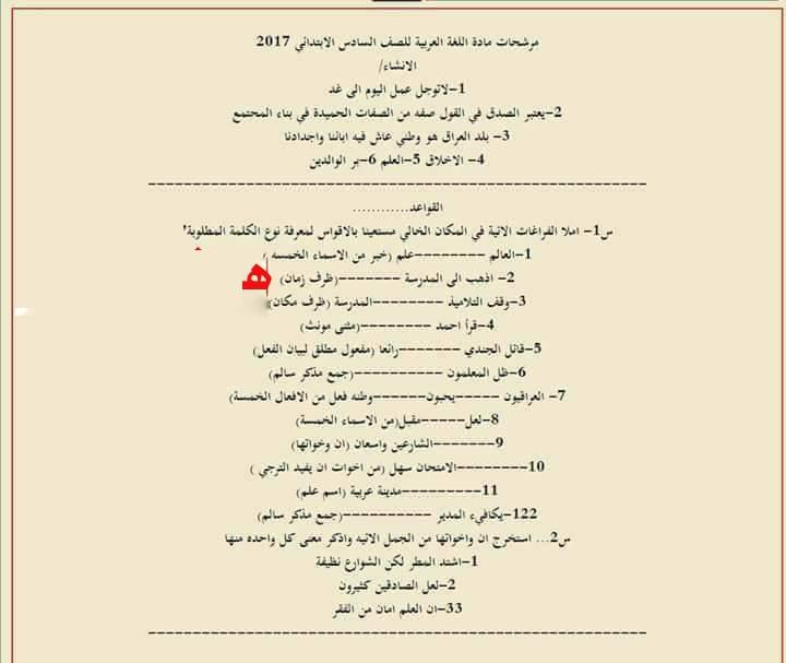 مرشحات اللغة العربية للصف السادس الابتدائي 2019 الدور الاول 214