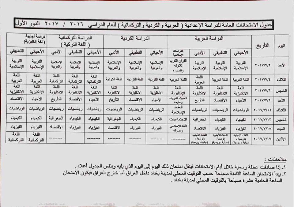 جدول الامتحانات النهائية للمراحل الدراسية كافة المنتهية وغير المنتهية العام الدراسي 2016/2017 Rr10