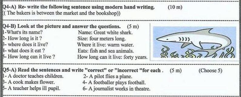 اسئلة مادة الانكليزي الفصل الثاني الشهراذار للصف السادس الابتدائي 2017  Zzz10
