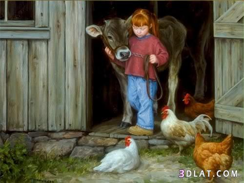 صور اطفال بالوان الزيت 13281610