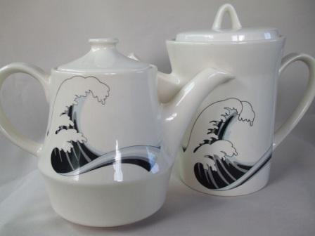 Last Wave Teapot & Coffee Pot with different decals Wave_510