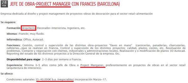 Oferta de empleo de Project Manager