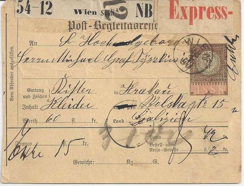 Postbegleitadressen mit fiskalischem Werteindruck Bild84