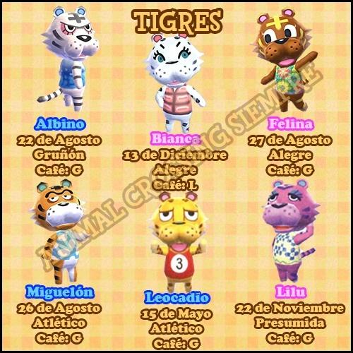 Guía de vecinos New Leaf Tigres10