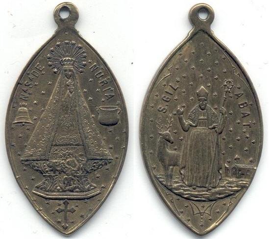 Medalla de la Virgen de Nuria y San Gil Abad.  (SXIX-Ot1) (MAM) Gil_ab10